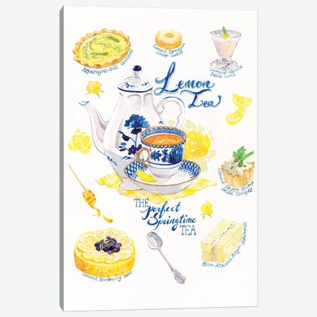 Lemon Tea & Treats Canvas Print #PLP10} by Penelopeloveprints Canvas Artwork