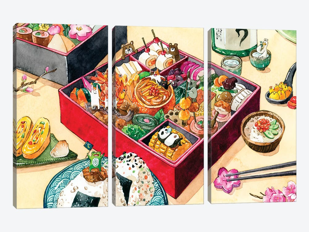 Osechi by Penelopeloveprints 3-piece Canvas Artwork