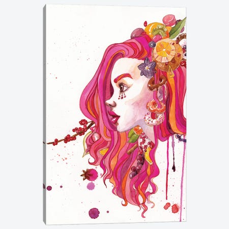 Pink Hair Canvas Print #PLP13} by Penelopeloveprints Canvas Wall Art