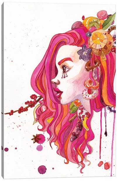 Pink Hair Canvas Art Print