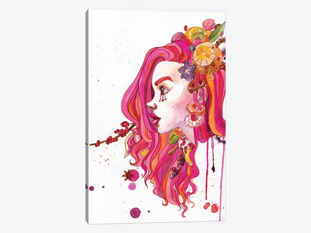 Pink Hair by Penelopeloveprints 1-piece Canvas Artwork