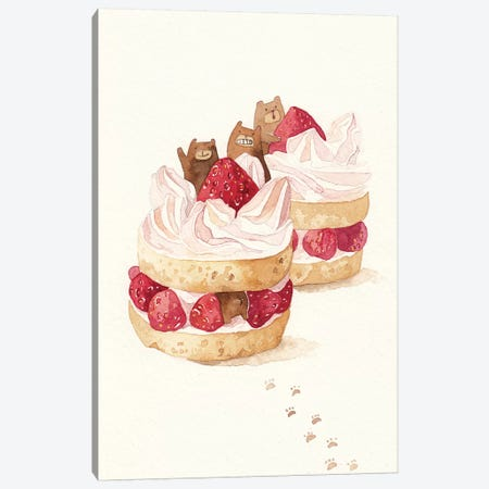 Strawbeary Cake 3-Piece Canvas #PLP15} by Penelopeloveprints Canvas Art Print