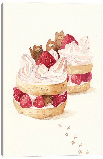 Strawbeary Cake Canvas Art Print