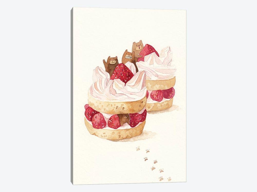 Strawbeary Cake by Penelopeloveprints 1-piece Canvas Art