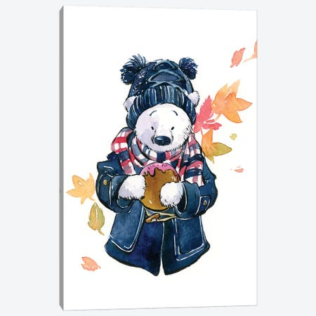 Winter Bear Canvas Print #PLP18} by Penelopeloveprints Canvas Wall Art