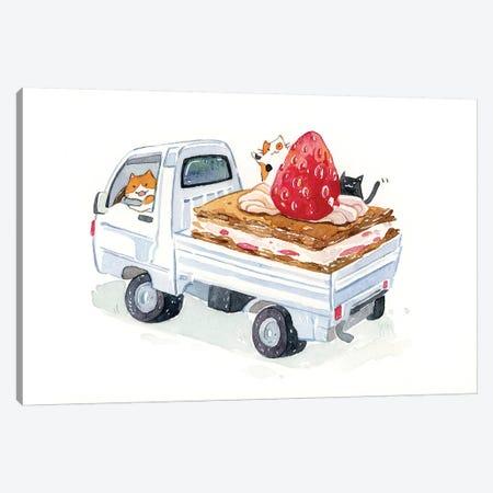 Kitty Trucker Canvas Print #PLP26} by Penelopeloveprints Canvas Artwork