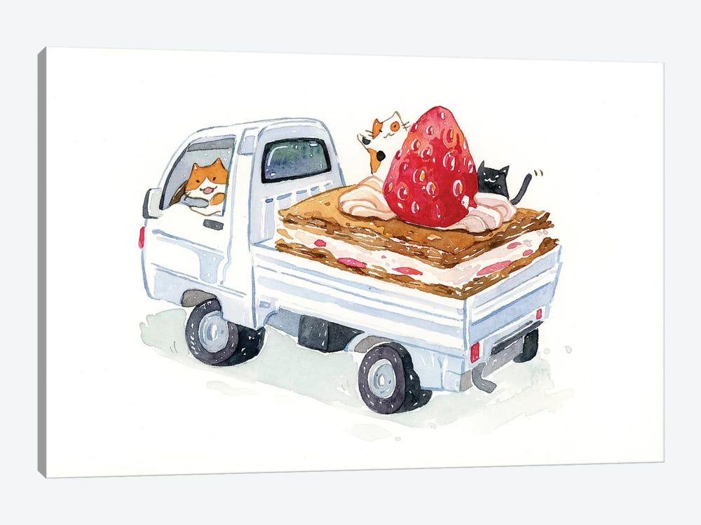 Kitty Trucker by Penelopeloveprints 1-piece Canvas Artwork