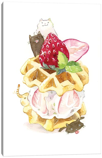 Kitty Waffle by Penelopeloveprints Canvas Art Print