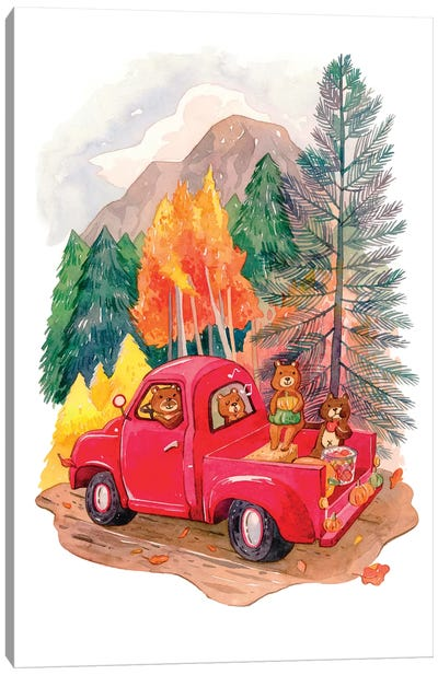 Little Red Truck Canvas Art Print