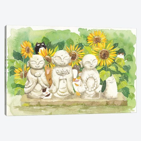 Buddha Sunflowers Cats Canvas Print #PLP2} by Penelopeloveprints Canvas Art Print
