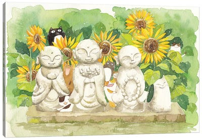 Buddha Sunflowers Cats Canvas Art Print