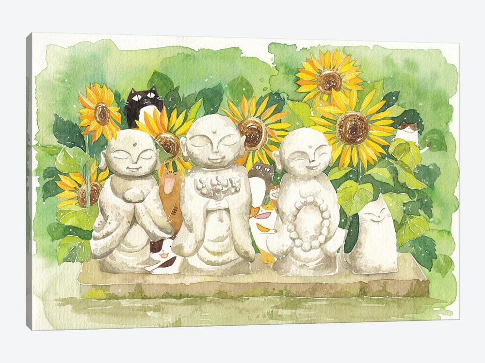 Buddha Sunflowers Cats 1-piece Canvas Print