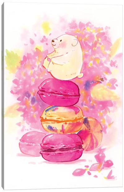 Polar Bear Macaron Canvas Art Print