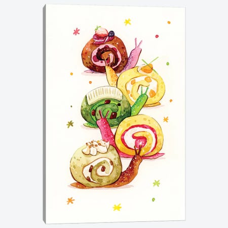 Snail Cake Canvas Print #PLP33} by Penelopeloveprints Canvas Artwork