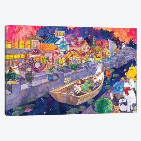 Cat Town 3-Piece Canvas #PLP3} by Penelopeloveprints Canvas Print