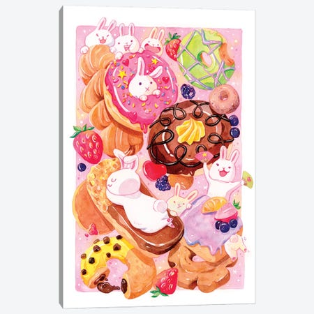 Donut Bunnies Canvas Print #PLP41} by Penelopeloveprints Canvas Art Print
