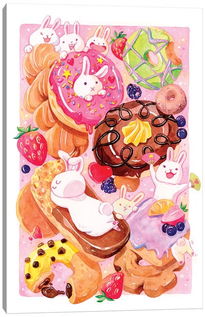 Donut Bunnies by Penelopeloveprints Canvas Art Print