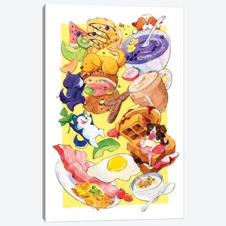 Breakfast Pups Canvas Print #PLP47} by Penelopeloveprints Canvas Wall Art