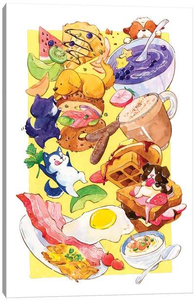 Breakfast Pups Canvas Art Print