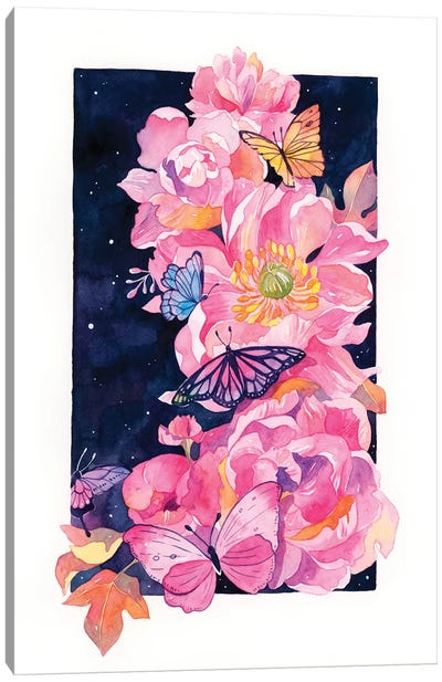 Peony And Butterfly Canvas Art Print