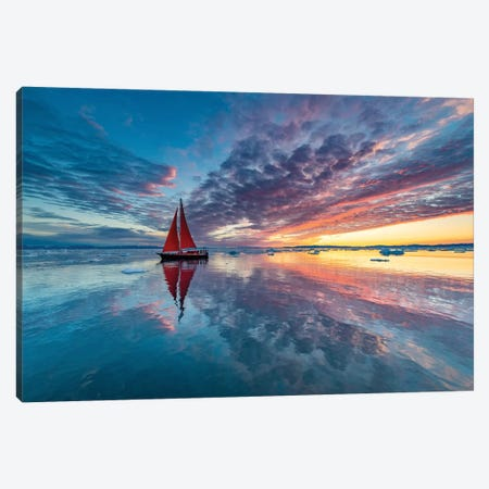 Greenland Fire Sky 3-Piece Canvas #PLS8} by Marc Pelissier Canvas Artwork