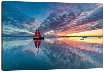 Greenland Fire Sky Canvas Art Print