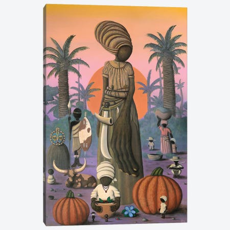Nanny and the Pumpkin Seeds Canvas Print #PLW21} by Paul Lewin Canvas Wall Art