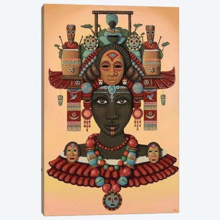Temple of the Wooden Mask Canvas Print #PLW35} by Paul Lewin Canvas Artwork