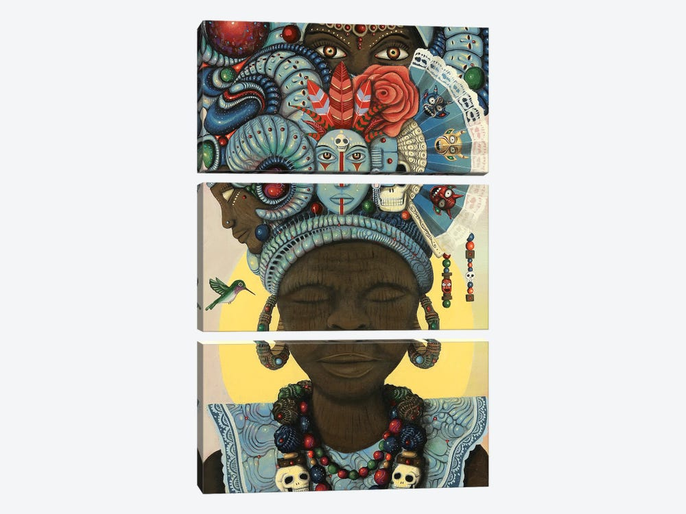 Ancestral Headwrap by Paul Lewin 3-piece Canvas Art Print