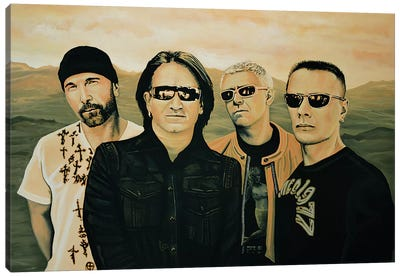 U2 Silver And Gold Canvas Art Print