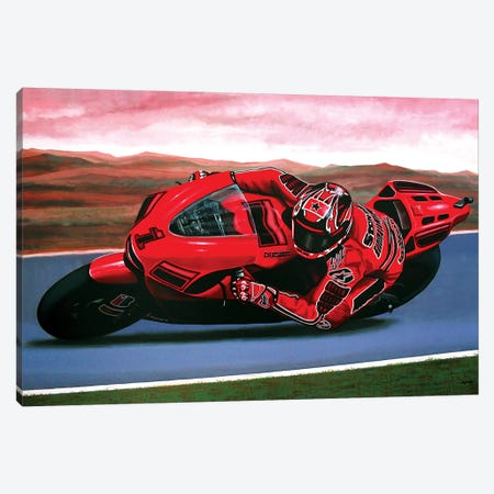 Casey Stoner On Ducati 3-Piece Canvas #PME40} by Paul Meijering Canvas Print