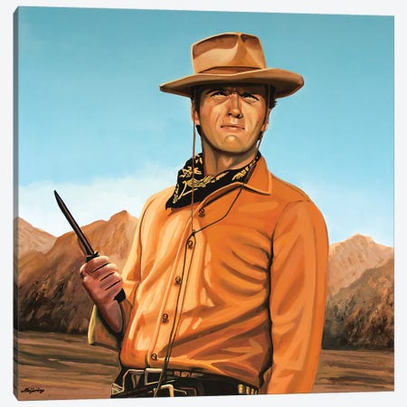 Clint Eastwood II Canvas Print #PME45} by Paul Meijering Canvas Wall Art