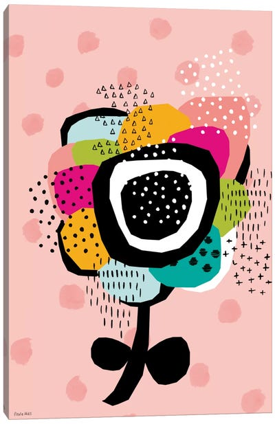 Pale Pink Geometric Daisy Canvas Art Print