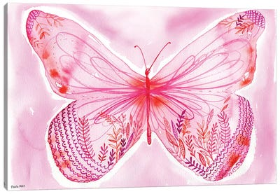 Big Pink Butterfly Canvas Art Print