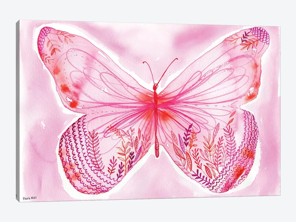 Big Pink Butterfly by Sweet William 1-piece Canvas Art Print