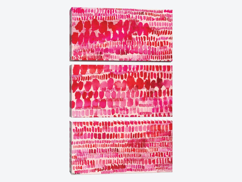 Pink And Red Water Colour Patterns by Sweet William 3-piece Canvas Wall Art