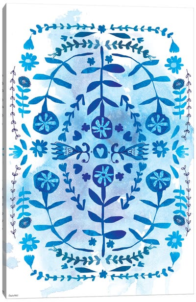 Blue & White Pattern Canvas Art Print