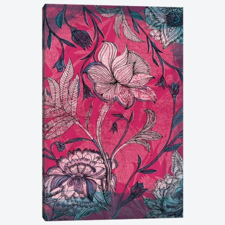 Deep Red Indian Floral Pattern Canvas Print #PMI9} by Sweet William Canvas Artwork