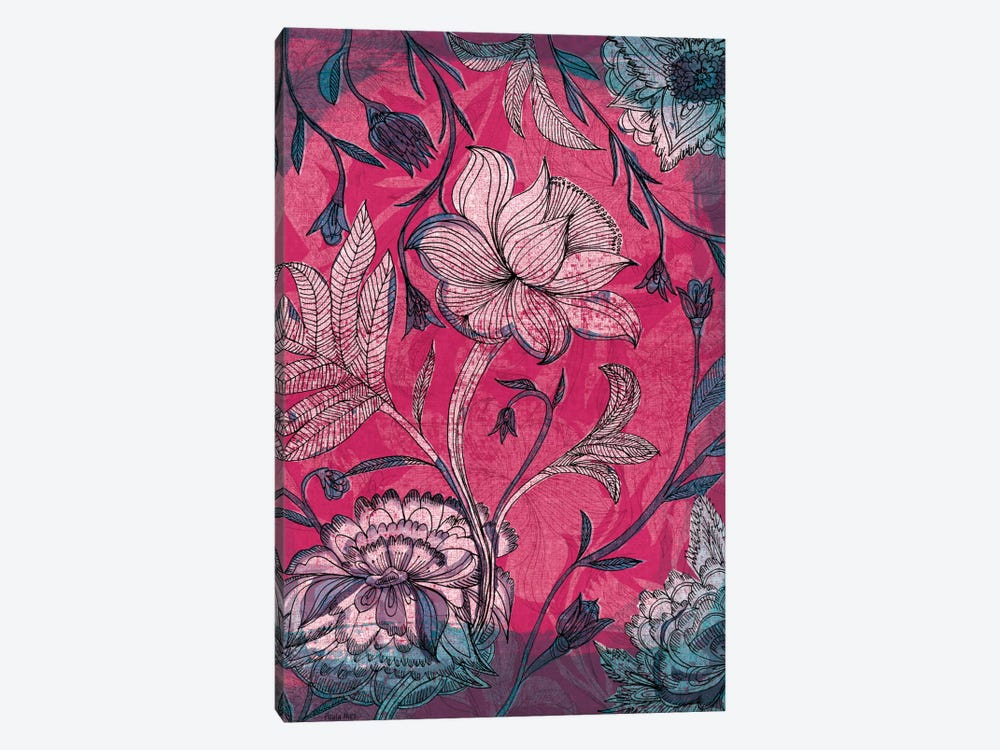 Deep Red Indian Floral Pattern by Sweet William 1-piece Canvas Wall Art