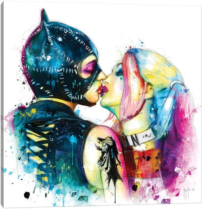 Cat Woman Harley Quinn Canvas Art Print