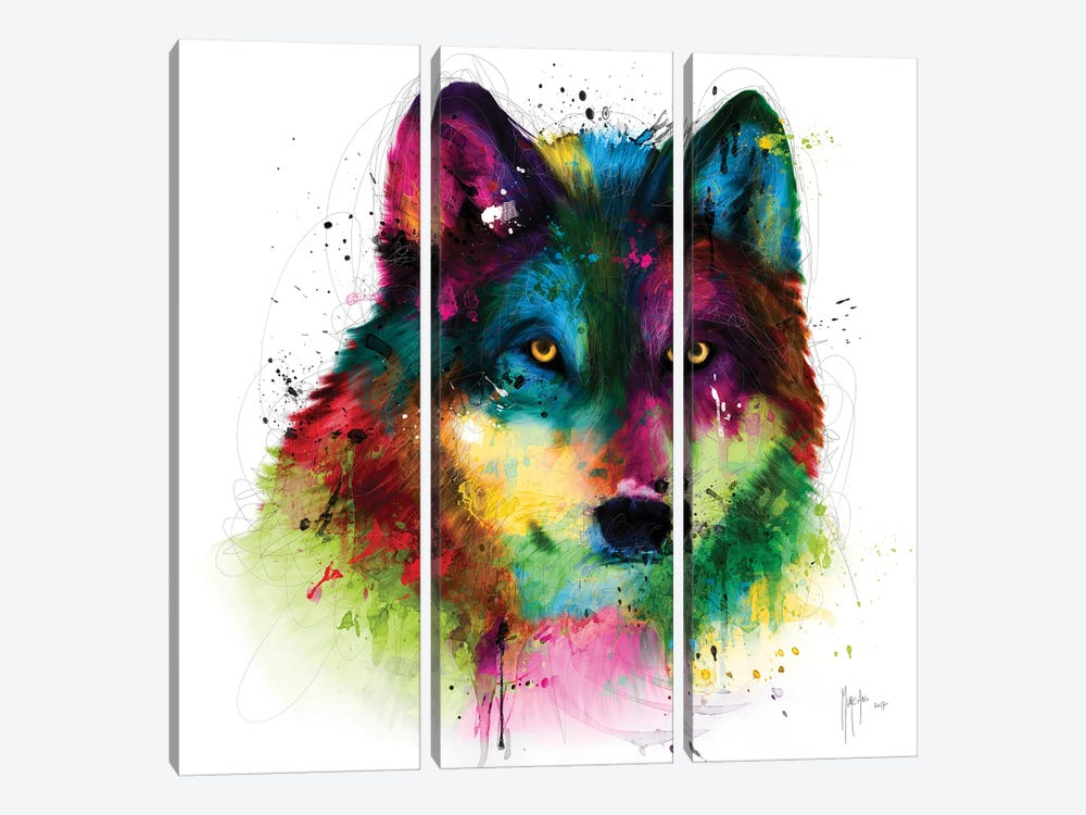 Wolf by Patrice Murciano 3-piece Canvas Art Print