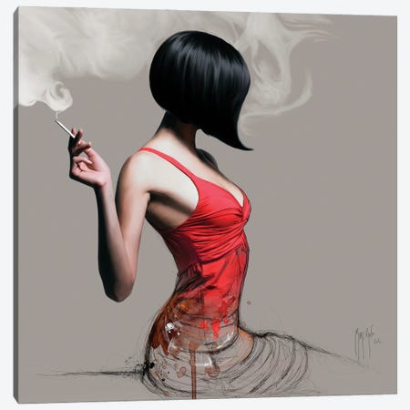 The Girl In Red Canvas Print #PMU168} by Patrice Murciano Canvas Print