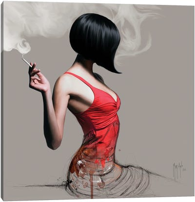 The Girl In Red Canvas Art Print