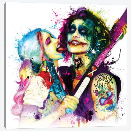 Joker Harley Quinn Canvas Print #PMU21} by Patrice Murciano Art Print