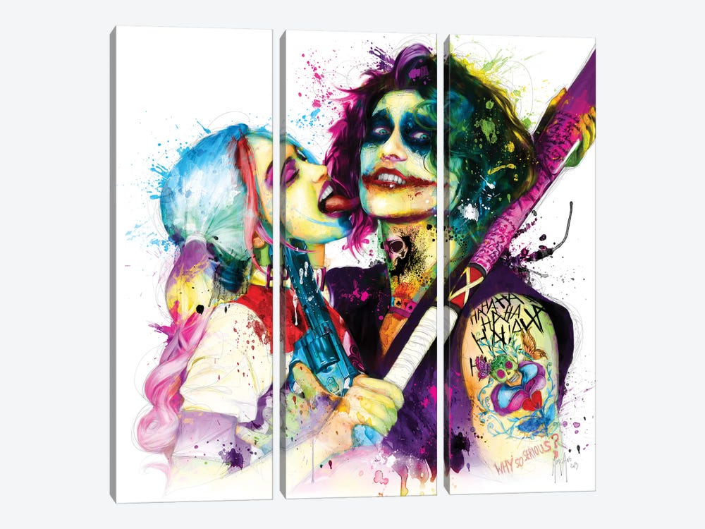 Joker Harley Quinn by Patrice Murciano 3-piece Canvas Art Print