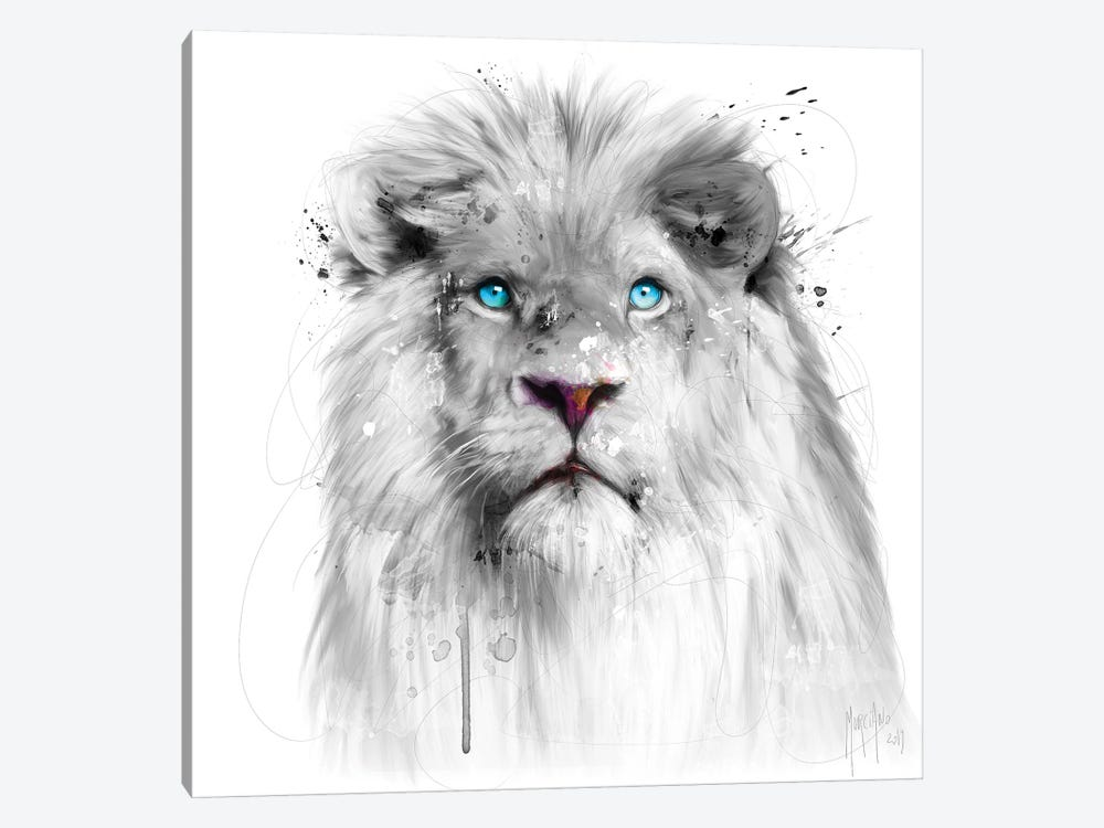 Lion White 1-piece Canvas Wall Art