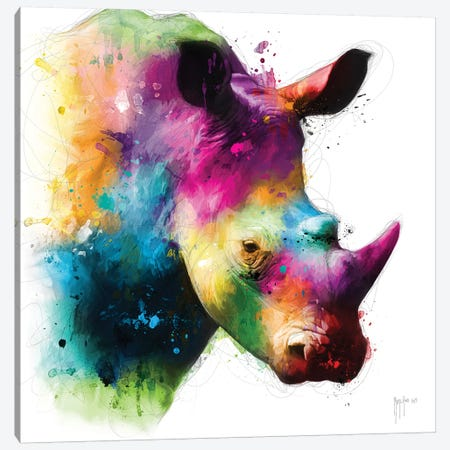 Rhinoceros Canvas Print #PMU35} by Patrice Murciano Canvas Print