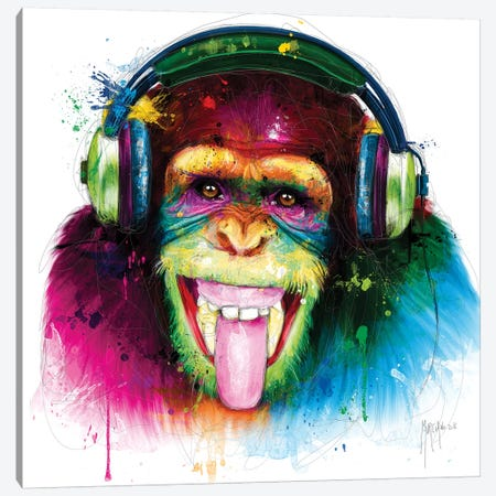 Dj Monkey Canvas Print #PMU76} by Patrice Murciano Canvas Art Print