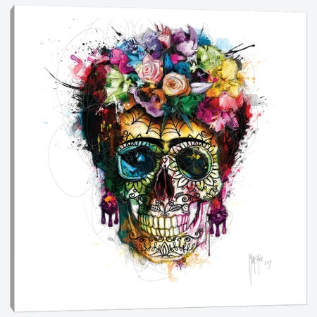Frida Kahlo Skull Canvas Print #PMU83} by Patrice Murciano Art Print