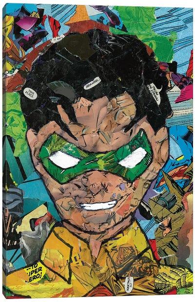 Robin Comic Collage Canvas Art Print